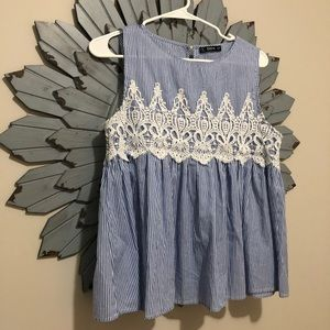 SheIn Blue & White Blouse with Lace Detail